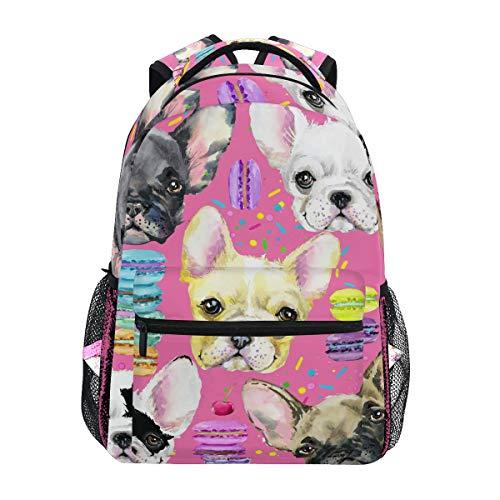 MAHU Backpack Dog French Bulldog Macaron Adults School Bag Casual College Bag Travel Zipper Bookbag Hiking Shoulder Daypack for Women Men