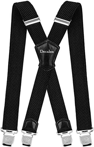Decalen Mens Suspenders Very Strong Clips Heavy Duty Braces Big and Tall X Style (Black 2)