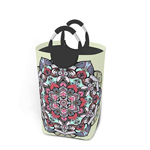 XCNGG Cesto de lavandería Papelera de Almacenamiento Flores Mandala Gran Cesta de Almacenamiento Plegable para Ropa Sucia Juguetes Libros