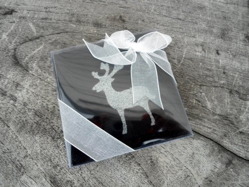 Christmas Coasters - Black Glass with Silver Sparkly Reindeer (Set of 2)