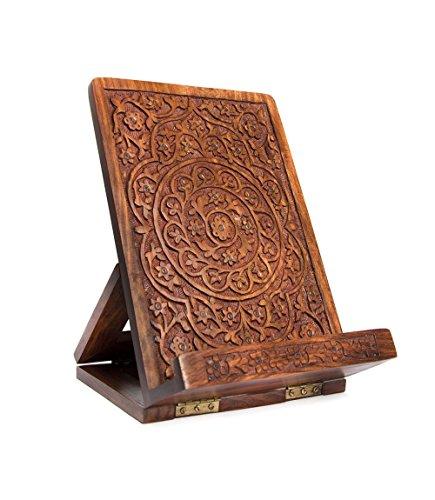 Hand-Carved Mandala Rosewood Cookbook Stand - Adjustable & Foldable Reading Holder/Kitchen/Office/Desk/Workshop