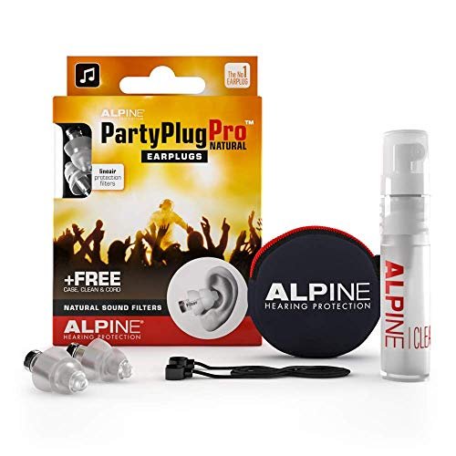 Alpine PartyPlug Pro Gehörschutz Ohrstöpsel mit linearer Dämpfung für Party, Musik, festival, Disco und Konzerte – Naturgetreue Dämpfung Hypoallergen mit kostenlosem Reiniger – Wiederverwendbar