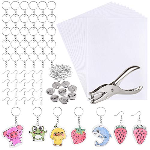 ASTORON 181Pcs Shrinky Plastic Sheet Kit Includes 20 Shrink Film Art Paper and 161 Pcs Keychains Making Accessories for Kids Craft and Art Supplies