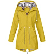 Xturfuo Women's Long Coat Outdoor Jacket Waterproof Sunscreen Hooded Sportswear Brown