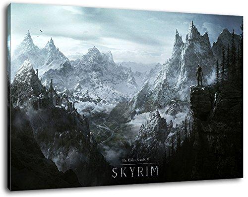 skyrime Format 120x80 cm Bild auf Leinwand, XXL riesige Bilder fertig gerahmt mit Keilrahmen, Kunstdruck auf Wandbild mit Rahmen