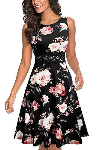 HOMEYEE UKA079 - Vestido de cóctel para mujer, cuello redondo, sin mangas, con flores bordadas, largo hasta la rodilla, estilo vintage Negro + blanco floral XXL