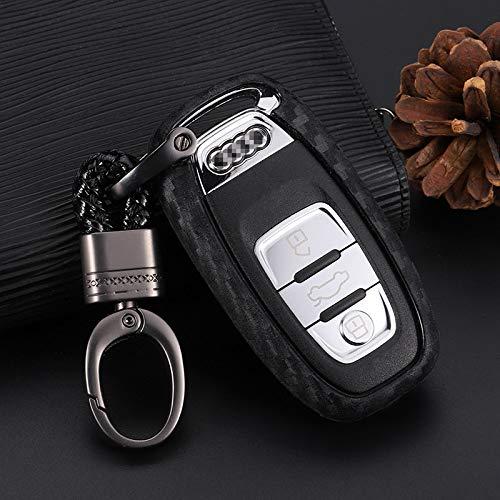 NZGMA Car Key Cover Koolstofvezel koffer voor smart car key beschermhoes voor Audi A4 A5 A6 A7 Q5 Q2 auto stijl accessoires