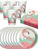 HomeTools.eu® - Flamingo Party-Geschirr Set, Einweg-Geschirr, angesagtes Flamingo Motiv, 8 Papp-Teller, 8 Papp-Becher, 20 Servietten, 36 Teilig