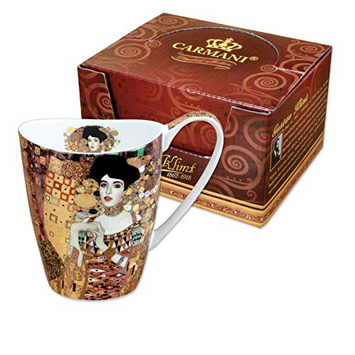 CARMANI - Porzellan-Becher mit 'Adele' von Gustav Klimt dekoriert