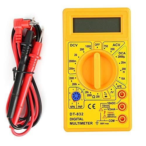 DT-832 Digital Multimeter Multitester, Hand Taschen Wechselstrom/Gleichspannungs-Stromwiderstandstester mit Summer, LCD Multimeter(Gelb)