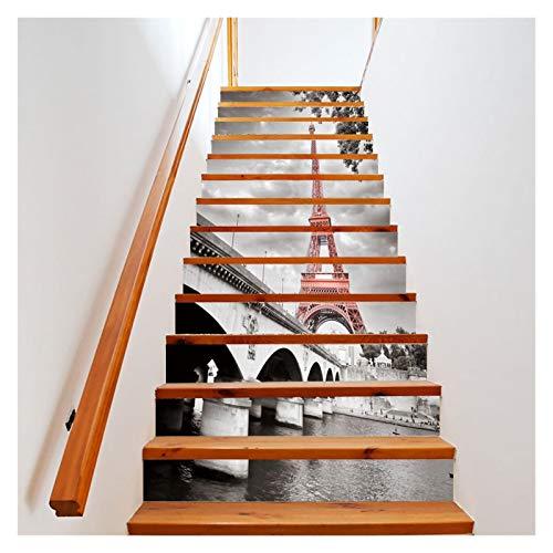 WENYOG Escaleras Pegatinas 13 PCS/Set Steirway Stickers 3D DIY Pegatina de Pared Escaleras Decoración Auto Adhesivo Arte Mural Calcomanías Carteles (Color : 6 Pieces)
