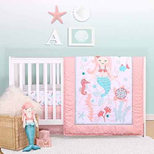 The Peanutshell Mermaid Kisses Crib Bedding Set for Baby Girls   3 Piece Nursery Set   Baby Quilt, Crib Sheet, and Dust Ruffle