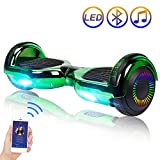 Hoverboard Self Balancing Scooter 6.5' Two-Wheel Self Balancing Hoverboard with Bluetooth Speaker and LED Lights Electric Scooter for Adult Kids Gift UL 2272 Certified Plating Dazzle Series - Green