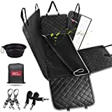 bellabailey Dog Car Seat Cover Waterproof with Mesh Window, 1 Removable Pad, 2 Dog Seat Belts Machine Washable - Dog Back Seat Cover Scratch Proof Nonslip Hammock for Cars/Trucks/SUVs(Grey)
