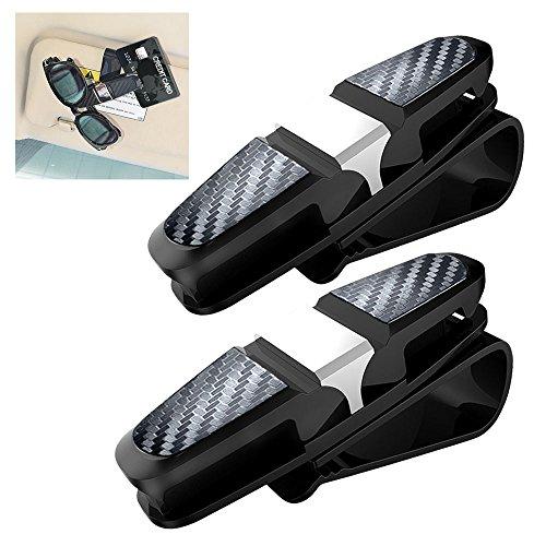 Tencoz 2 Pack Brillenhalter für Auto Sonnenblende, brillenhalter zubehör autozubehör Sonnenbrillen Brillen mit Kartenkarten Clip - Schwarz