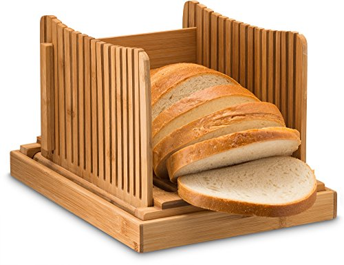 Bambusi Bread Slicer Cutting Guide with Knife - Organic Bamboo Bread Cutter for Homemade Bread, Loaf Cakes, Bagels - Foldable and Compact with Crumbs Tray and Knife
