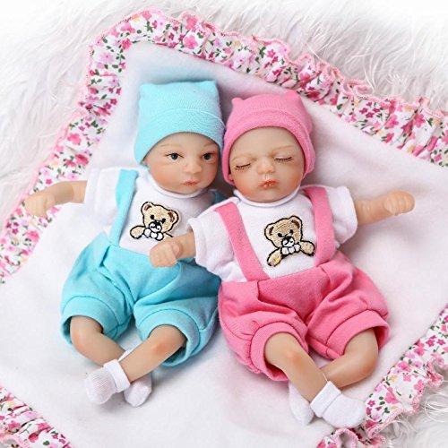 Pinky 20cm 8 Inch Mini Reborn Baby Palm Doll Hard Vinyl Silicone Girl Boy Twins Realistic Newborn Dolls Xmas Birthday Present (Twins)