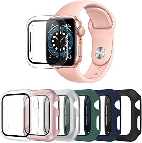 OMEE 6 Pezzi Apple Watch Cover 38mm Series 3/2/1 con protezione per schermo in vetro temperato, paraurti antiurto per PC ultra sottile e resistente ai graffi per uomo donna Accessori iWatch