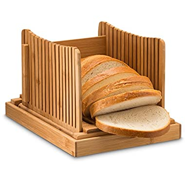 Bamboo Bread Slicer Guide with Crumb Catcher Tray for Cutting Even Slices, Foldable Wooden Bread Board Perfect for Homemade Breads and Loaf Cakes, Folds Flat for Easy Storage. By Bambusi