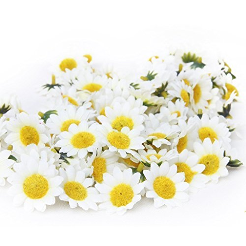 HugeStore 100 Pcs Artificial Gerbera Daisy Flower Sunflower Heads for DIY Wedding Party Decor White