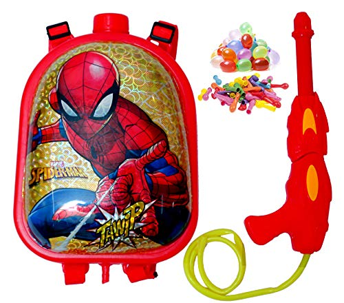 Jiada StarToys Holi Pressure Water Gun Pichkari with Tank Backpack | Dazzle Tank 3.5 Litre (Spiderman) Free 100 Water Balloons - Made in India