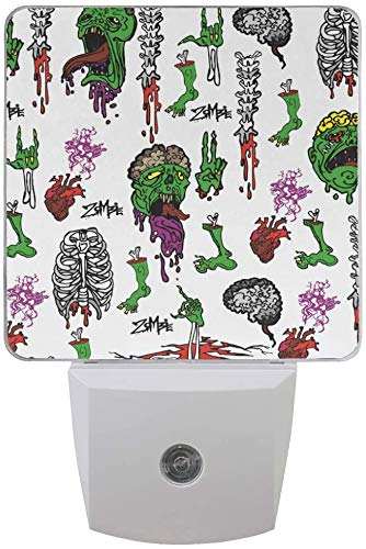 Paquete de 2 lámparas LED de luz nocturna de Zombies miedo impresión de fiesta de Halloween con sensor de atardecer a amanecer para dormitorio, baño, pasillo, escaleras, 0,5 W, EU Jack