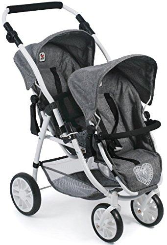 Bayer Chic 2000 689 76 Puppenwagen Tandem-Buggy Vario, Jeans Grey