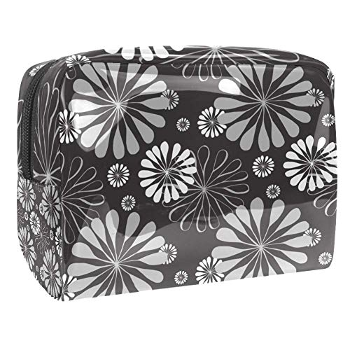 Maquillage Cosmetic Case Multifunction Travel Toiletry Storage Bag Organizer for Women - Floral Pattern Grey Retro