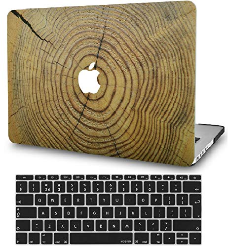 KECC Laptop Case for MacBook Air 13' Retina (2020/2019/2018, Touch ID) w/Keyboard Cover Plastic Hard Shell Case A1932 2 in 1 Bundle (Cracked Wood)