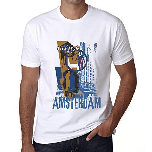 Hombre Camiseta Vintage T-Shirt Gráfico Amsterdam Lifestyle Blanco