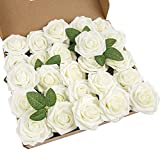 LuLuHouse 25pcs Artificial Flower Foam Rose Ivory Real Touch Roses Flower Heads with Stem for DIY Wedding Bouquets Centerpieces Arrangements Party Baby Shower Home Decor (25, Ivory)