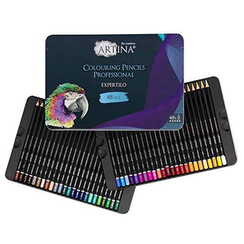 Artina Expertilo 48er Professionell Buntstifte Set - FSC®-zertifiziertes Stifte Set Farbstifte bruchsicher, hoch pigmentiert, viele bunte Holzstifte für Künstler zum Zeichnen und Malen