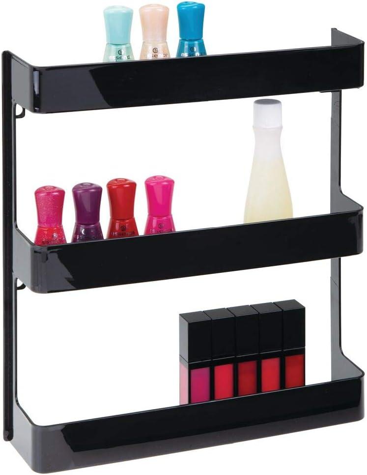 mDesign Organizador de medicamentos – Estantería de pared con 3 estantes – Baldas para baño de plástico para guardar medicinas, vitaminas y suplementos deportivos – negro