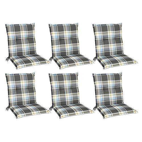 Beautissu Set de 6 Cojines para sillas de Exterior y jardín con Respaldo bajo Sunny BK Azul 100x50x6 cm tumbonas, mecedoras, Asientos cómodo Acolchado Resistente a Rayos UV