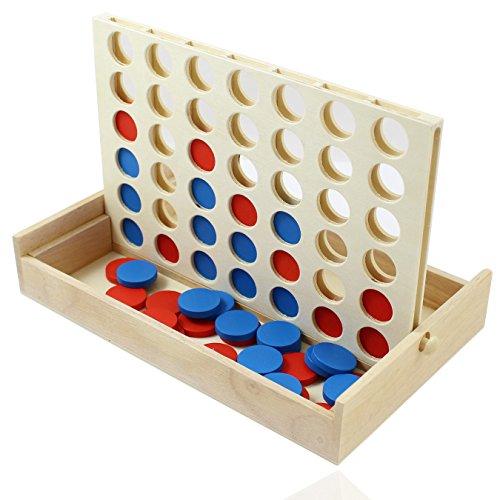 Smart Planet® der Brettspiel Klassiker  Vier Gewinnt  Spiel , Spielsteine und Box aus Holz für Erwachsene und Kinder ab 4 Jahren