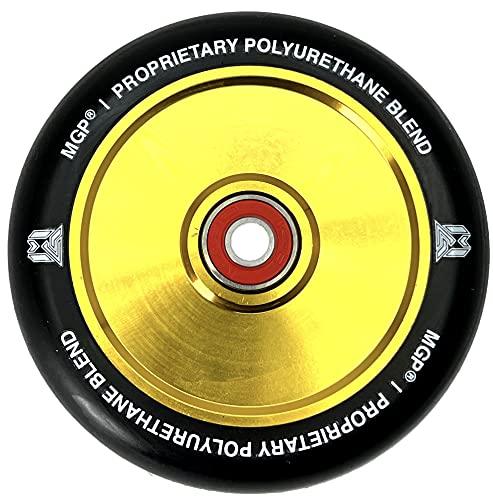 MGP Madd Gear F26 LTD - Rueda de repuesto para patinete de acrobacias (110 mm, núcleo hueco), diseño de arcoíris + pegatina Fantic26 (dorado/poliuretano negro)