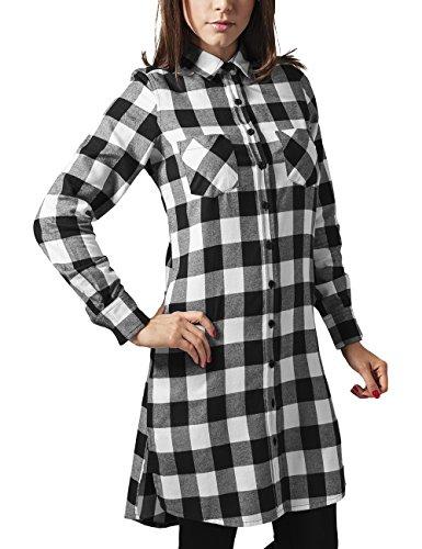 Urban Classics Damen Ladies Checked Flanell Shirt Dress Kleid, Mehrfarbig (blk/wht 50), 42 (Herstellergröße: XL)
