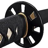 Handmade Sword - Japanese Samurai Katana Swords, Functional, Hand Forged, 1045 Carbon Steel, Clay Tempered, Damascus, Full Tang, Sharp, Black Wooden Scabbard, Sword Certificate
