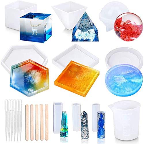 Baiyao 20 moldes de resina para fundición de resina, incluye esfera, cubo, pirámide, posavaso, colgante de tubo y moldes de resina epoxi para hacer joyas
