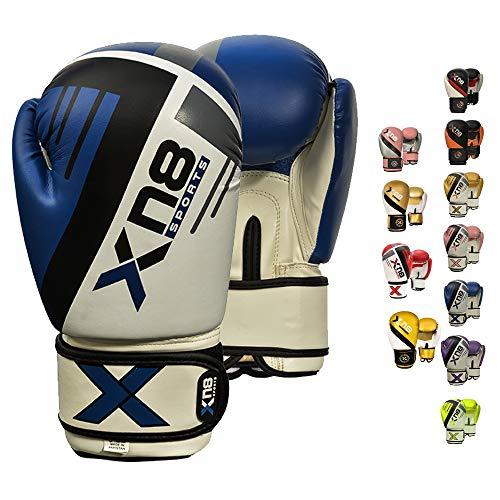 XN8 Boxhandschuhe Muay Thai Training - 8oz 10oz 12oz 14oz 16oz-Kickboxen Pro Sparring- Professioneller Punchinghandsc-uhe Mitts-Boxsack Boxing Gloves-Männer und Frauen (Blau, 12oz)