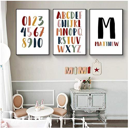 Zhaoyangeng Gepersonaliseerde Baby Jongen Naam Poster Brief Schilderen Op Doek Print Alfabet Wandkunst Afbeeldingen voor Kwekerij Decoratie - 50X70Cmx3 Geen Frame