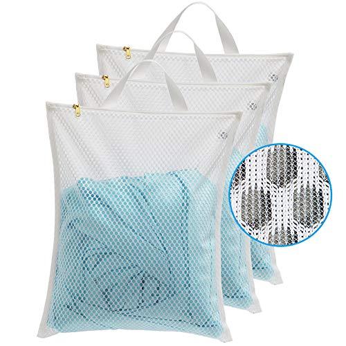 TENRAI Laundry Bag Mesh Wash Bag,Use YKK Zipper,Tote Bag Bathroom Hanging Bra Fine Mesh Wash Bag for Underwear 3 Bags(3M Cellular Mesh )