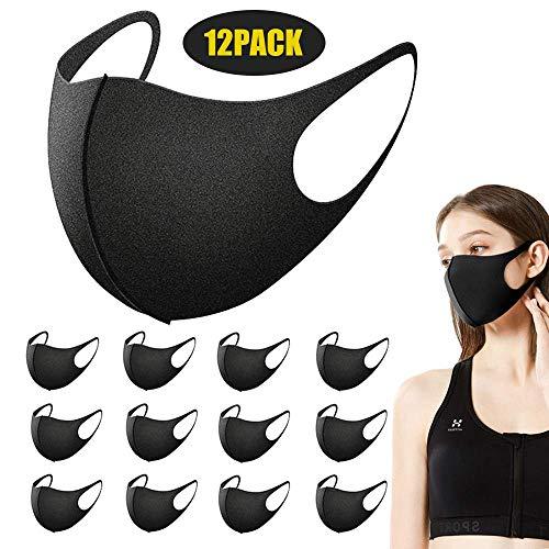 Redmoo Masken Mundschutz, 12 Stück Wiederverwendbare Mundschutzmasken, Anti-Staub-Maske, Gesichtsmaske zum Laufen, Radfahren, Outdoor-Aktivitäten, waschbar