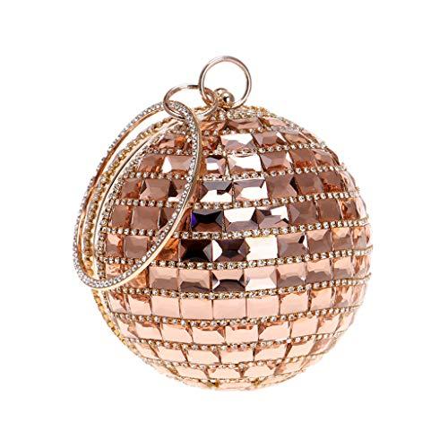 Bearbelly Mujer Monedero de Embrague Bolso de Noche de Cristal de Diamantes de imitación Multicolor para Boda y Fiesta, Bolso de la Tarde Redondo del Anillo del Monedero (Oro Rosa)