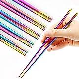 Stainless Steel Chopsticks Reusable Multicolor Lightweight 304 Metal Chopsticks Dishwasher Safe - 5...