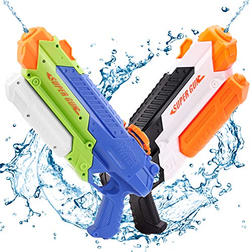 Ospetty 2Pack Water Gun Water Soaker Blaster Long Shooting Distance Up to 32Feet High Capacity 900CC Summer Beach Party for Kids Lifetime Replacement Guarantee (Water Gun 2Pack)