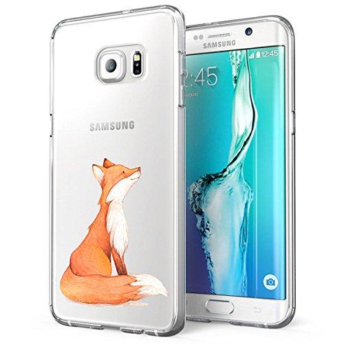 Galaxy S6 Edge Antiurto,Galaxy S6 Edge Clear Cover Alsoar Cute Animale Sottile e Leggera Silicone Trasparente Anti Scivolo Graffi Morbido TPU Cover per Samsung Galaxy S6 Edge (Volpe)