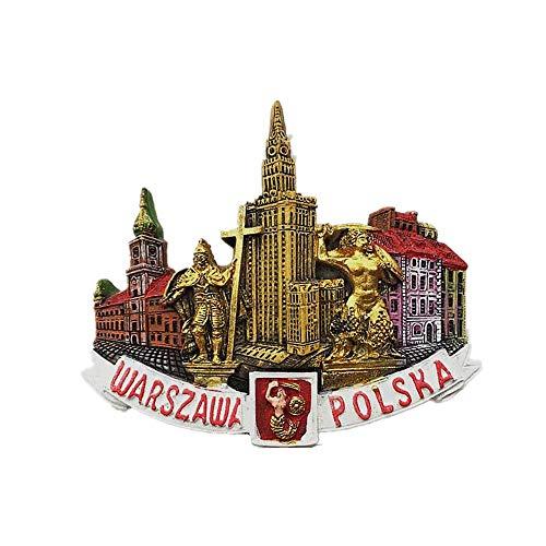 Warszawa Polska 3D magnes na lodówkę, dekoracja domu i kuchni naklejka magnetyczna Warszawa Polska lodówka magnes turystyczny pamiątka prezent kolekcja