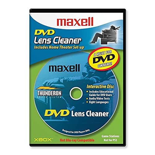 Maxell 190059 DVD Only Lens Cleaner, with Equipment Set Up and Enhancement Features, Packaging May Vary