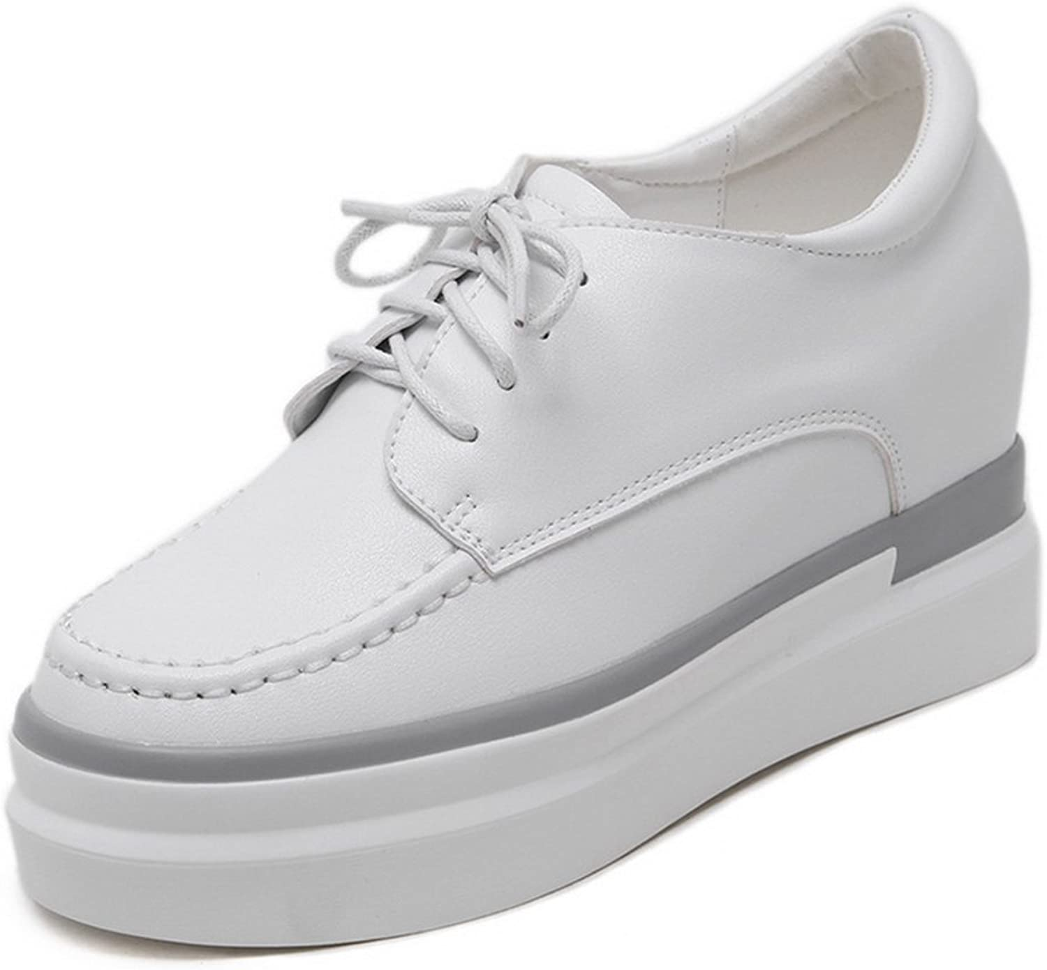 1TO9 Womens Lace-Up Platform Heighten Inside White Urethane Oxfords shoes - 7 B(M) US